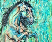 """16x20"""" """"Lime & Peach"""" Rearing Horse Painting on Canvas"""