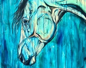 """47x40"""" """"Discover"""" Horse Drip Painting - Equestrian Decor"""