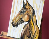 "Bananas - 16x12"" yellow horse painting"