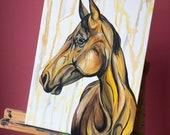 "Bananas - 16x12"" yellow horse painting"