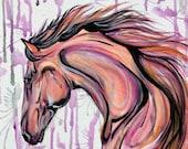 """FIRE - 16x16"""" original equine art"""