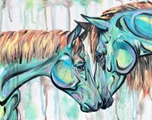 """28x12"""" """"Brother"""" - Horse and Foal Painting"""