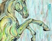 "47x40"" ""REAR!"" Horse Art Painting"