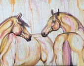 "Here For You - 20x35"" original horse art painting on canvas"