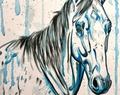"12x16"" Blue Bodhi - original horse painting"
