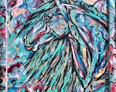 """13x17"""" """"Colors of the Sea"""" abstract finger painting of a horse"""