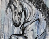 Calm After the Storm - Friesian Painting 24x16""