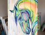 "Rainbow Drip - 47x24"" Colorful Equestrian Art Painting"