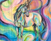 "DREAMER -Original 47x47"" acrylic horse painting with rider"
