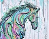 "16x13"" 41x33cm ""Radiant"" Rainbow horse painting"