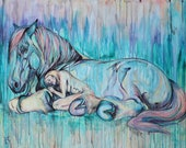 "Sleeping Beauty- 47x55"" original horse painting"