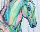 "Dragon King - 32x16"" original equine art"