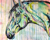 "32x32"" ""Fossil"" -colorful horse art painting"