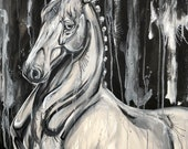 "28x24"" - ""Silver"" - Horse Art Painting on Canvas"
