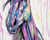 "Whimsical - 35x20"" horse painting"