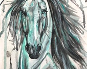 """8x12"""" """"Lion"""" - horse art painting on canvas"""