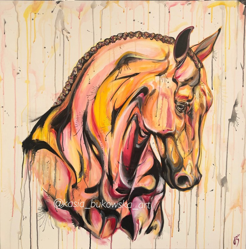 Meant To Be  40x40 original horse painting artwork image 0