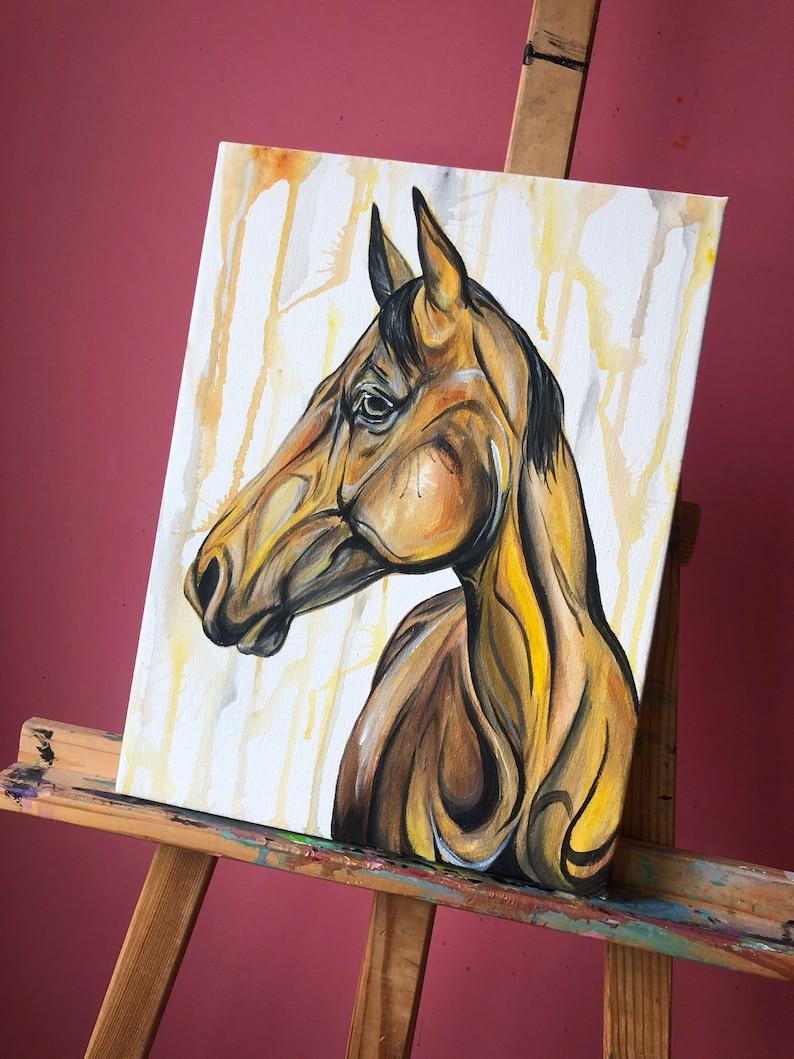 Bananas  16x12 yellow horse painting image 1