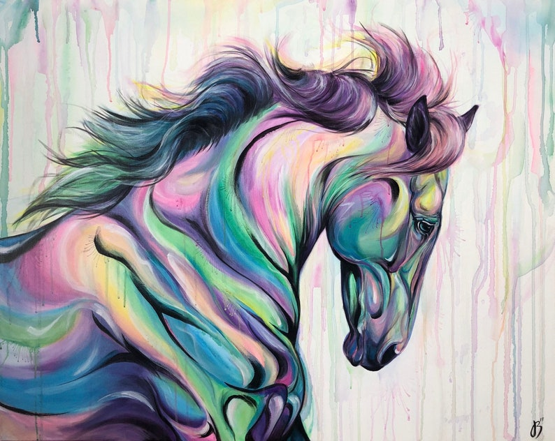 Colors Of Fate  Whimsical Horse Painting image 0