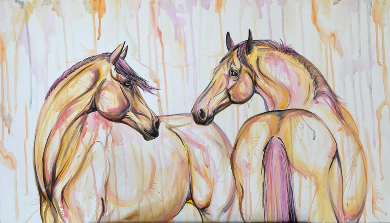 Here For You  20x35 original horse art painting on canvas image 1