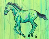 """12x12"""" """"Canter""""- Foal Horse Art Painting On Canvas Board"""