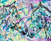 """32x47"""" """"Becoming Friends"""" - horse painting"""