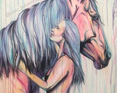 """We Are One - 40x32"""" original horse painting"""