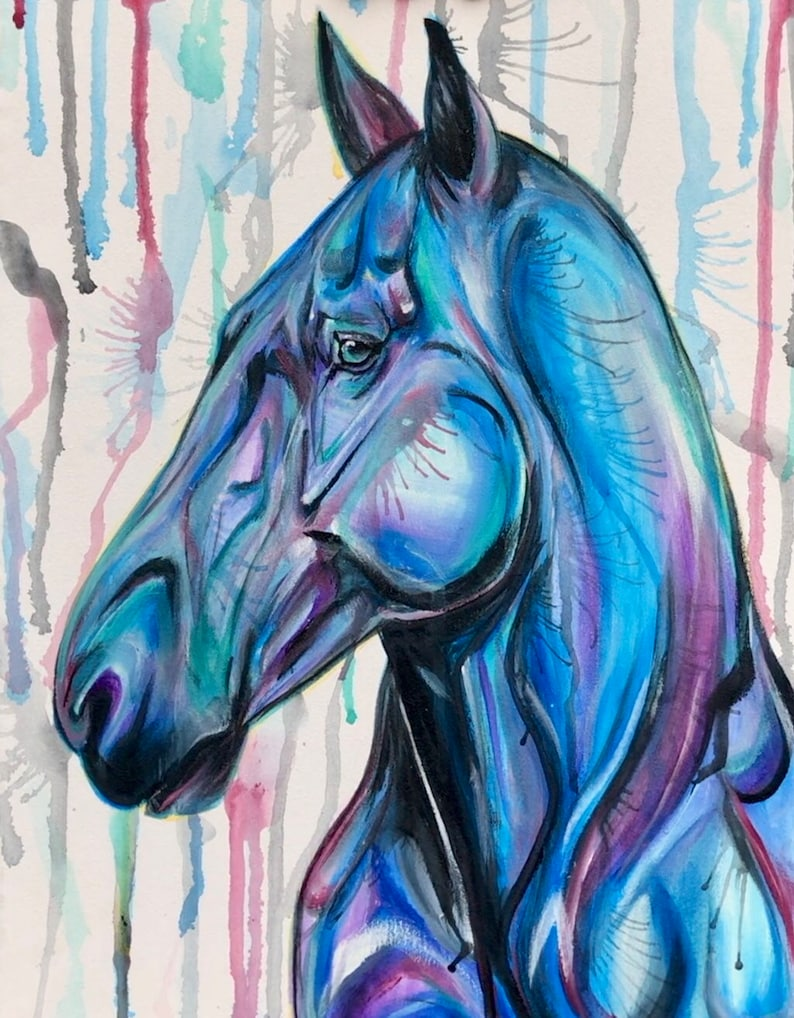 Serenity  3-piece set  horse paintings image 1