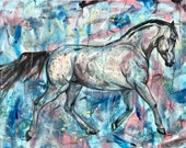 """35x20"""" Abstract horse painting, """"Blue Camouflage"""""""