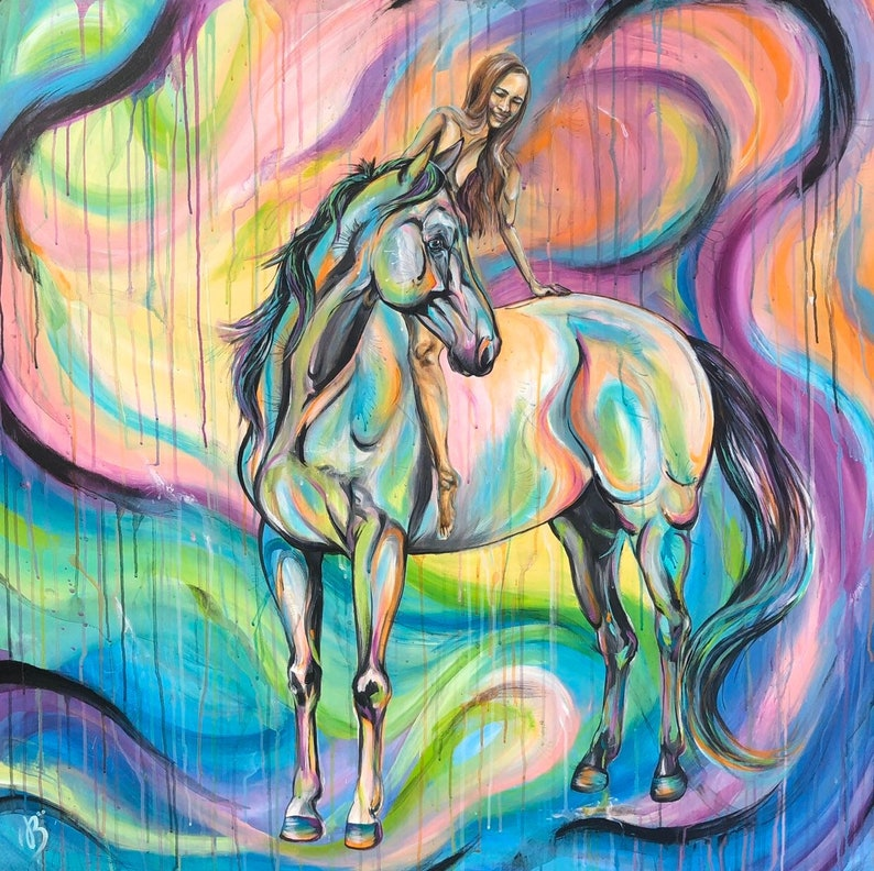 DREAMER Original 47x47 acrylic horse painting with image 1