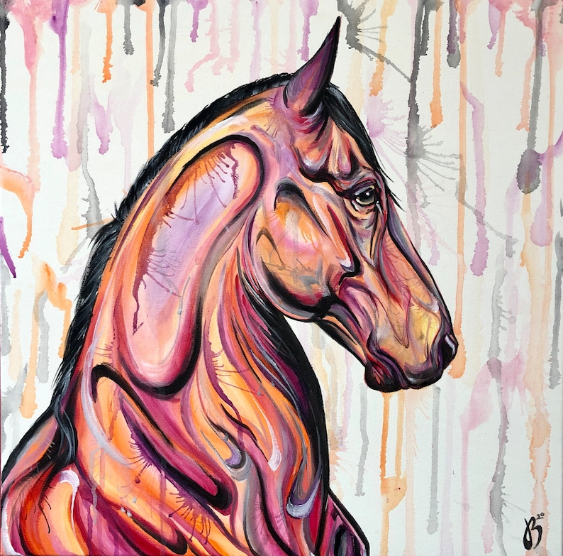Golden Hour  20x20 horse painting image 1