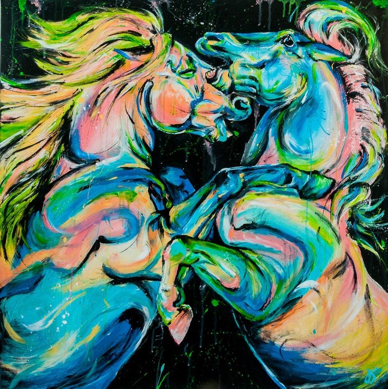 Battle  40x40 acrylic finger painting image 1