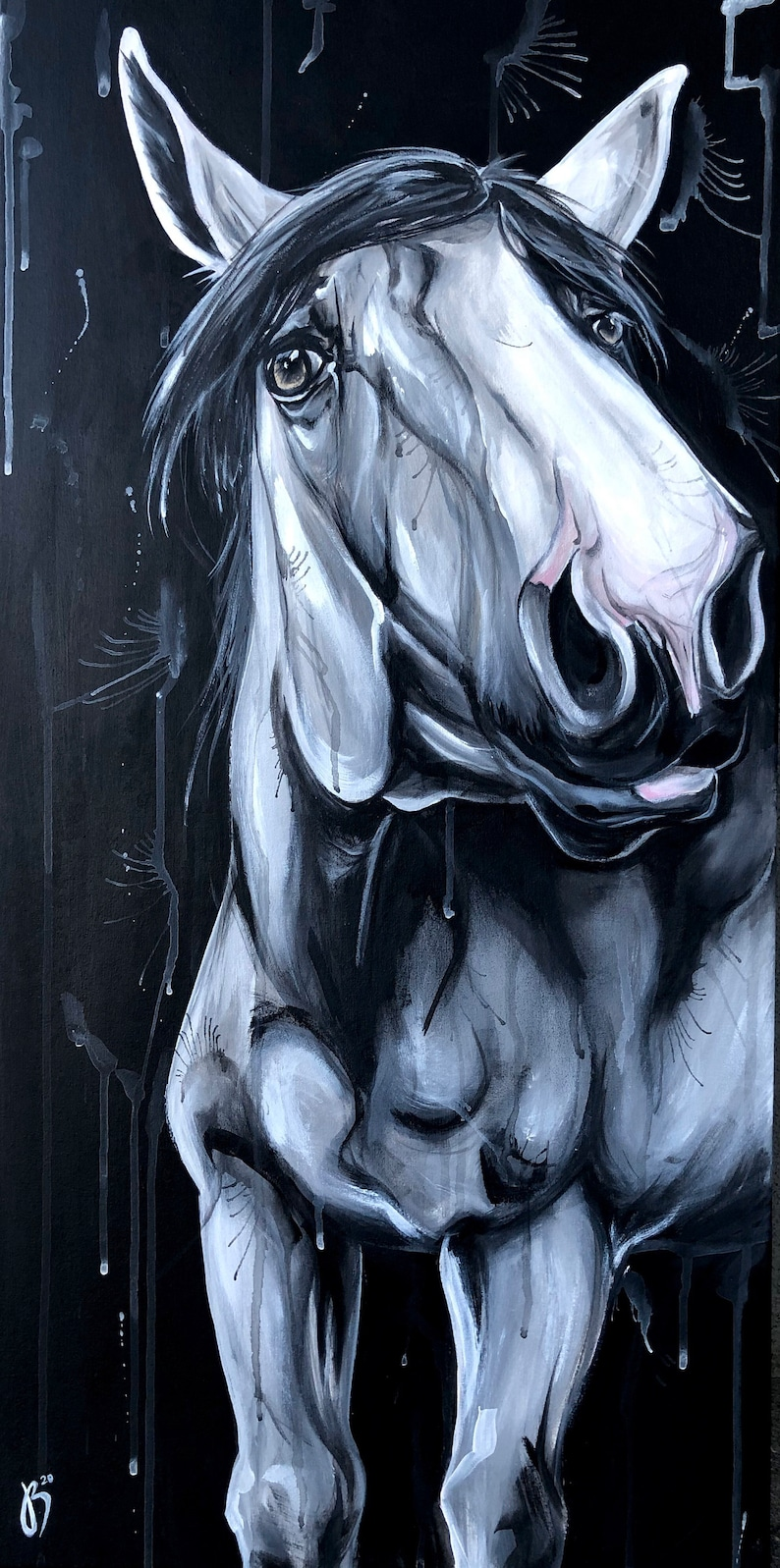 Curiosity 32x16 black and white horse painting image 0