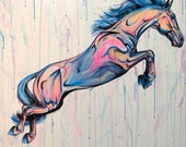 """40x40"""" Liberty Jumper -Colorful Horse Jumping Painting on Square Canvas"""