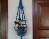 Macrame plant hanger polyester cord paracord Nylon 33 quot pot holder hanging planter indoor outdoor Housewarming Gift for Her Blue colour