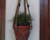 Free shipping -62 quot Natural macrame plant hanger jute pot holder Retro vintage style hanging planter indoor outdoor medium sized
