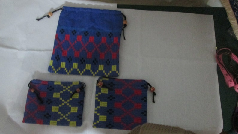 indian cotton drawstring bags setof 3 cotton Draw string bags pouch Blue handwovenhandloom fabric bags