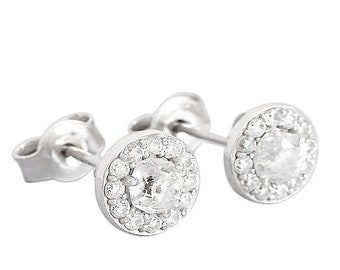 White Gold Halo Diamond Stud Earrings   White Gold Diamond Stud Earrings   Diamond Studs   Halo Earrings   Halo Stud Earrings, Pave Earrings