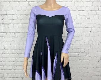 Ursula The Little Mermaid Inspired Long Sleeve Skater Dress