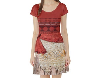 Moana Inspired Short Sleeve Skater Dress