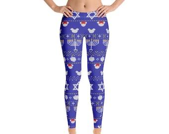 Hanukkah Pajamas Hebrew Dreidels Sufganiyot Women/'s Hanukkah Outfit Chanukah Party Gelt Hanukkah Leggings with Donuts Hanukkah Pants