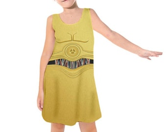 Kid s C3PO Star Wars Inspired Sleeveless Dress 5c514fe05cac