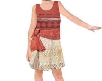 Kid's Moana Inspired Sleeveless Dress