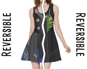 READY-to-SHIP [L] Loki / Thor Marvel Inspired REVERSIBLE Sleeveless Dress