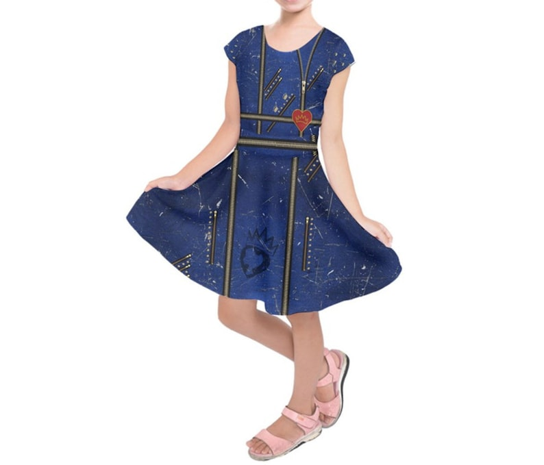 Kid's Evie Descendants 2 Inspired Short Sleeve Dress