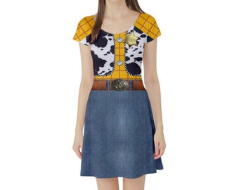 READY-to-SHIP Woody Toy Story Inspired Short Sleeve Skater Dress