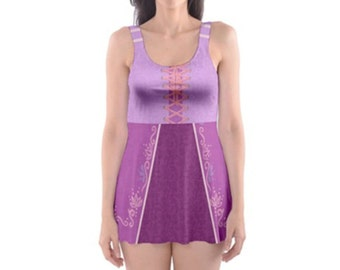 READY-to-SHIP [L] Rapunzel Tangled Inspired One Piece Skater Dress Swimsuit