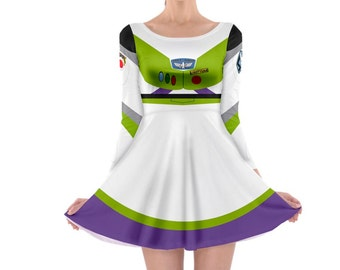 READY-to-SHIP Buzz Lightyear Toy Story Inspired Long Sleeve Skater Dress
