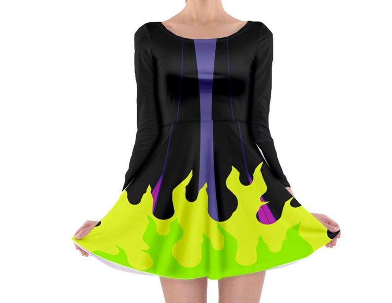 Maleficent Sleeping Beauty Inspired Long Sleeve Skater Dress