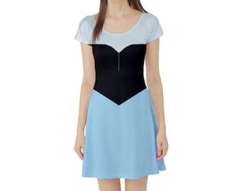 Ariel The Little Mermaid Inspired Short Sleeve Skater Dress